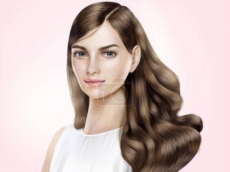 Illustration pour Modèle de cheveux attrayant, belle femme aux cheveux longs brillants en illustration 3D, fond rose - image libre de droit