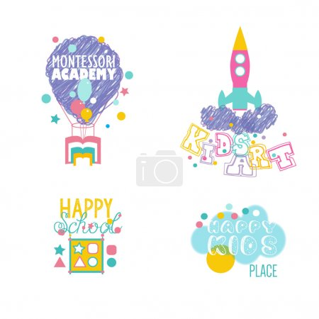 Illustration for Play and Learn, Early developing. Preschool Logotypes Set. - Royalty Free Image