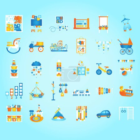 Illustration for Play and Learn, Early developing. Preschool and Montessori set. Flat style vector illustration. - Royalty Free Image