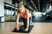 Tired athlete woman working out
