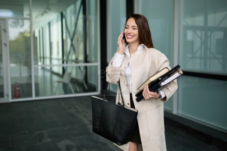 Busy business woman going to work