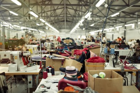 Photo for Industrial busy sewing workplace - Royalty Free Image