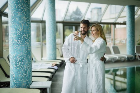 Couple enjoying spa wellness treatments