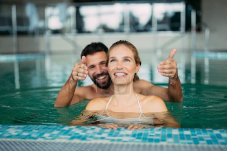 Couple enjoying spa wellness weekend