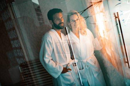 Couple enjoying salt spa treatment