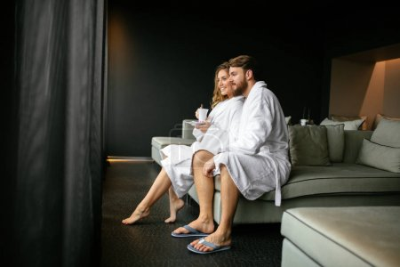 Romantic couple enjoying honeymoon escape