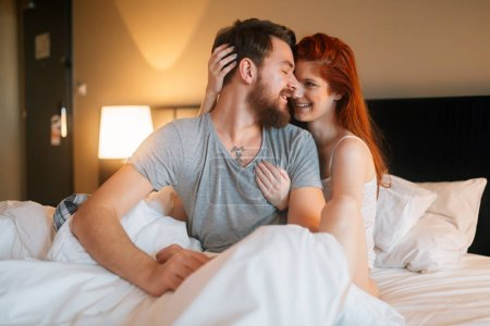 beautiful couple in bedroom