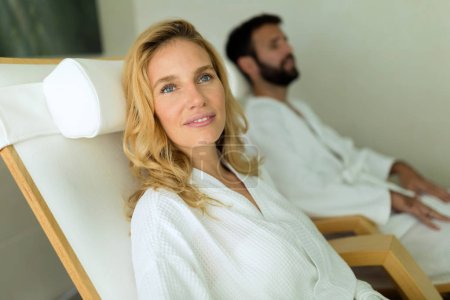 Couple enjoying wellness spa