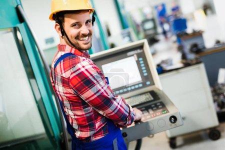 Industry Worker entering data y