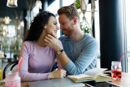 Young happy couple on date