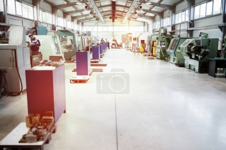 Factory manufacturing metal parts equipped with cnc machines