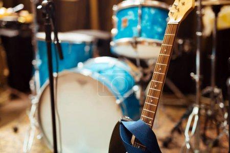 Closeup of guitar strings in modern studio
