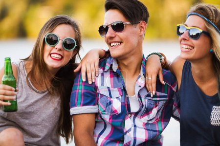 Photo for Group of young happy friends having fun time outside - Royalty Free Image