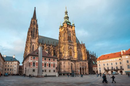 24.01.2018 Prague, Czech Rebublic - Tourists visit St Vitus Cath