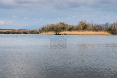Boat on the river Kaparchina, Lake Paliastomi, Pot...