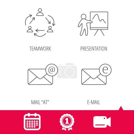 Teamwork, presentation and e-mail icons.