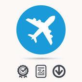Plane icon Flight transport sign