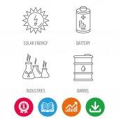 Solar energy battery and oil barrel