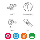 Sport fitness swimming ball and skis icons