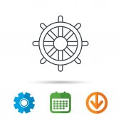 Ship steering wheel icon Captain rudder sign Sailing symbol Calendar cogwheel and download arrow signs Colored flat web icons Vector