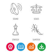 Scales of justice sound and strategy icons Slapstick linear sign Award medal growth chart and opened book web icons Download arrow Vector