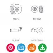 Tire tread brakes and steering wheel icons Muffler klaxon signal linear signs Award medal growth chart and opened book web icons Download arrow Vector