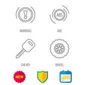 Car key abs and wheel icons