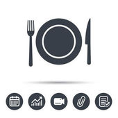 Dish fork and knife icons Cutlery sign