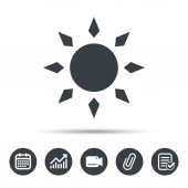 Sun icon Sunny weather symbol Calendar chart and checklist signs Video camera and attach clip web icons Vector
