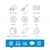 Kitchen scales whisk and grater icons