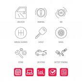 Car key repair tools and manual gearbox icons
