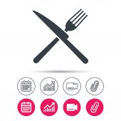 Fork and knife icons Cutlery sign