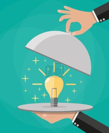 Illustration pour Mains tenant cloche plateau d'argent avec ampoule idée jaune. Illustration vectorielle en style plat - image libre de droit