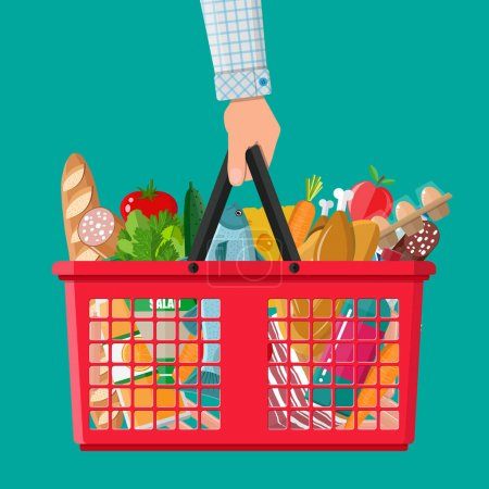 plastic shopping basket full of groceries products