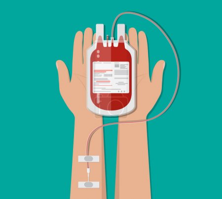 Bag with blood and hand of donor. donation concept