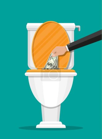 Illustration for Businessman hand putting dollar bills in toilet. Losing money. Vector illustration in flat style - Royalty Free Image