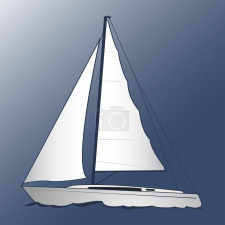 A white yacht. Blue background