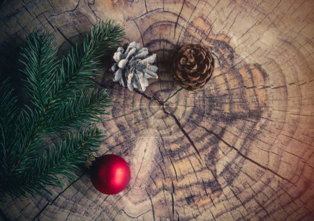 Christmas bauble and pine cone