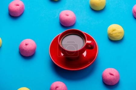 colorful marshmallows and cup of coffee