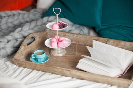 marshmallows, coffee and book
