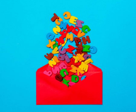 colorful letters in red envelope