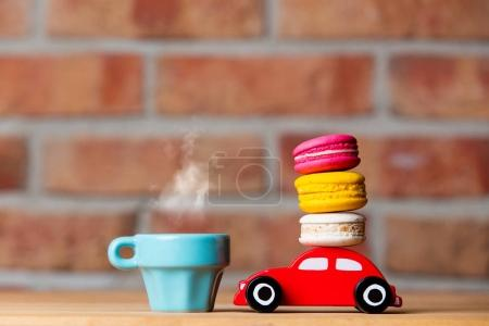 toy car carrying macarons