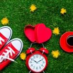 Постер, плакат: Alarm clock and red gumshoes