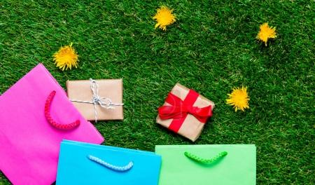 bright shopping bags and gift boxes
