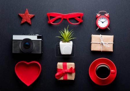 retro photo camera and gift boxes
