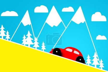 Photo pour Petite voiture jouet rouge sur fond bleu avec des montagnes et des arbres dessinés à la main - image libre de droit