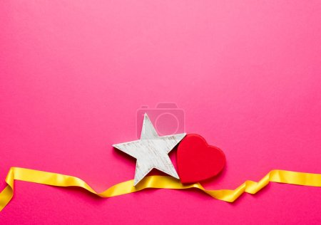 heart and star with yellow ribbon