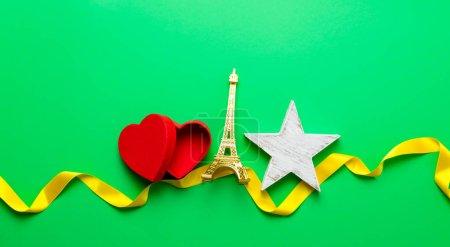 Eiffel tower souvenir and red heart shape-box