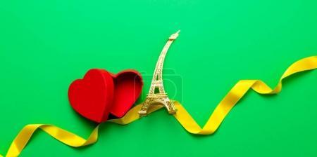 Eiffel tower souvenir and hearts