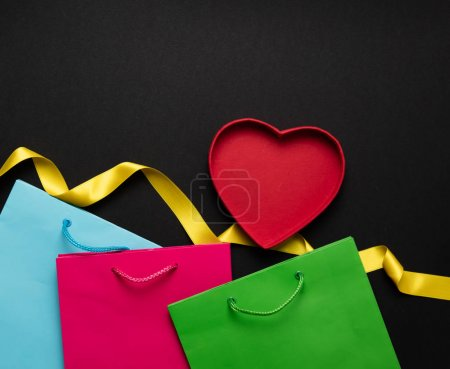 red heart with yellow ribbon